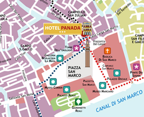 Hotels Venice St Marks Square Hotel Antico Panada Hotel - Venice san marco map